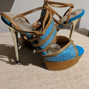 Blue and brown bakers high heels
